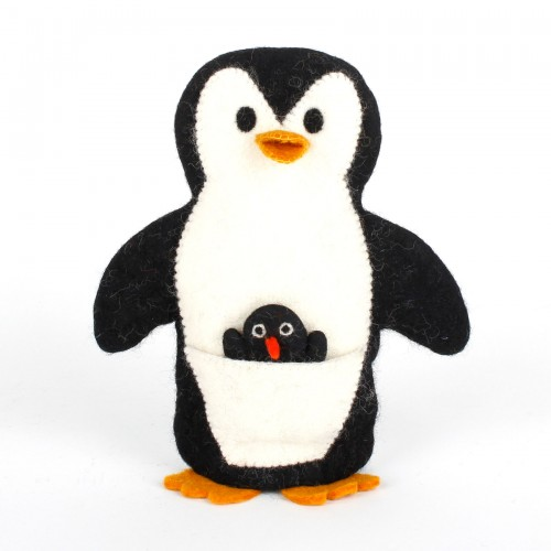 Handpop Pinguïn met Baby
