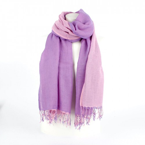 Dubbel Katoen Sjaal Paars/Roze