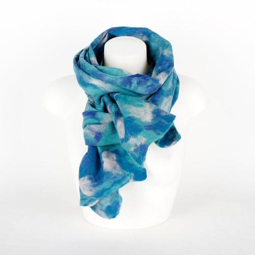 Viltsjaal Blauw Aqua Wit