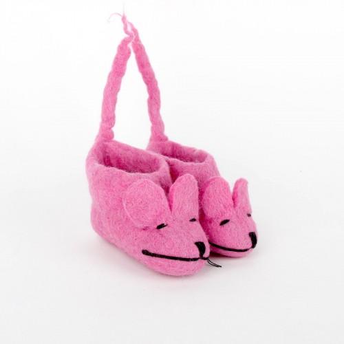 Slofjes Muis met Staart Roze