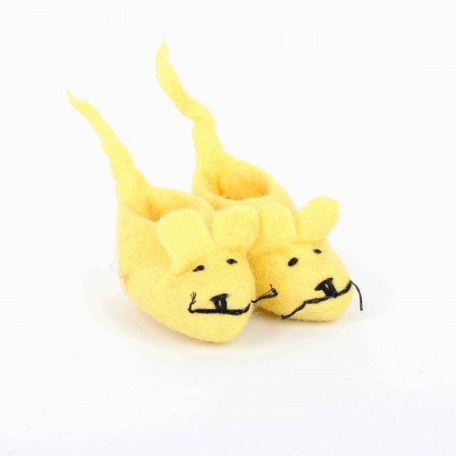Slofjes Muis met Staart Geel