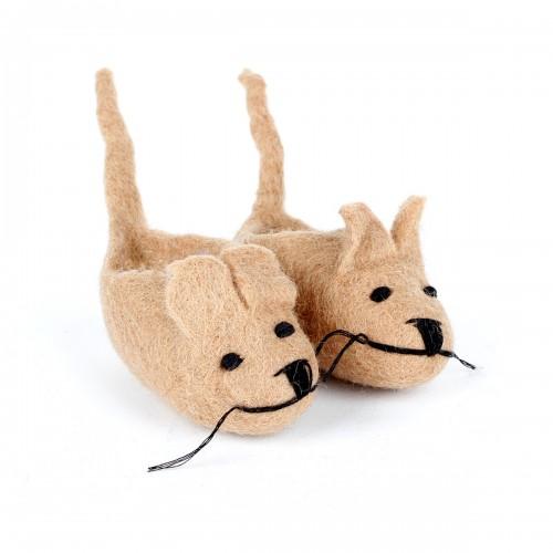 Slofjes Muis met Staart Beige
