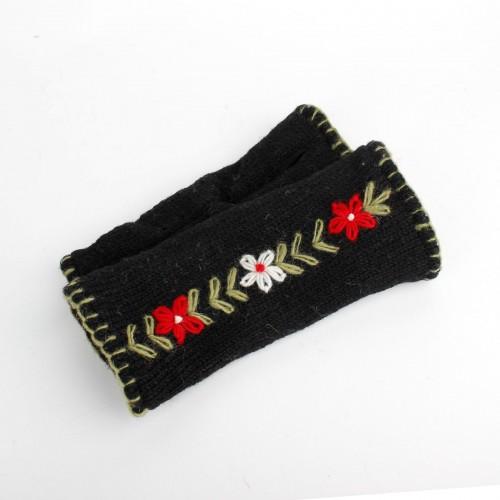 Handwarmers met Bloemen Zwart