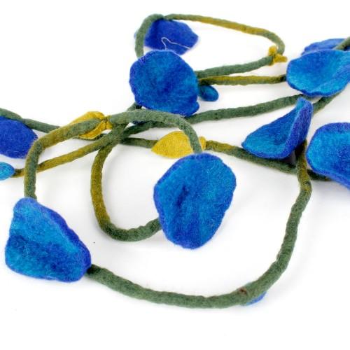 Vilten Bloemenketting Blauw