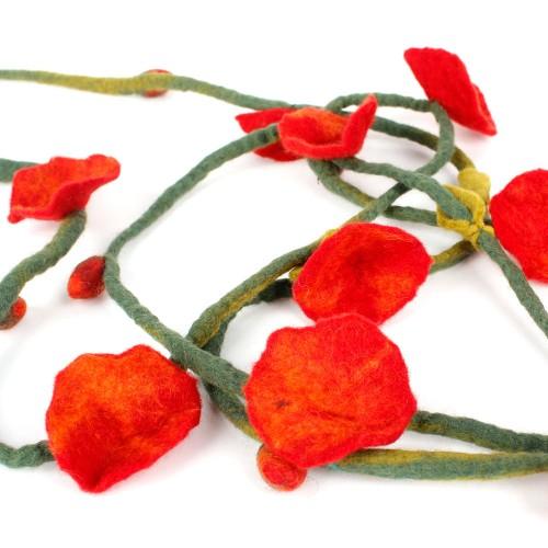 Vilten Bloemenketting Rood