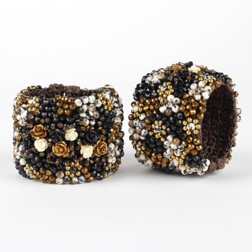 Armband Zwart Goud Roos Breed