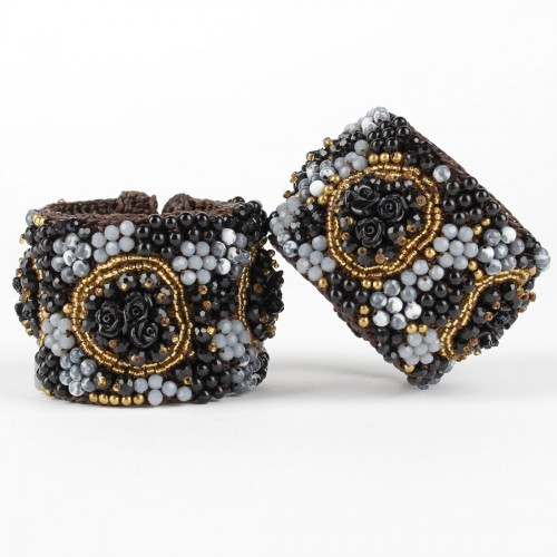 Armband Zwart Roos Breed