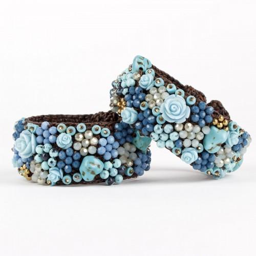 Armband Blauw Roos Smal