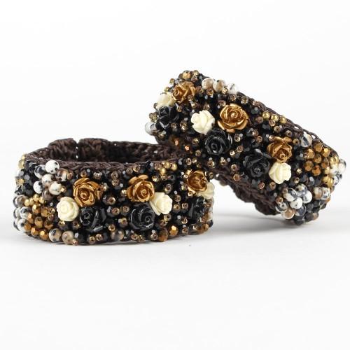 Armband Zwart Goud Roos Smal