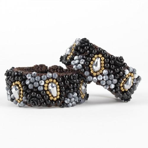 Armband Zwart Roos Smal