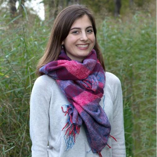 Sjaal Fuchsia Blauw