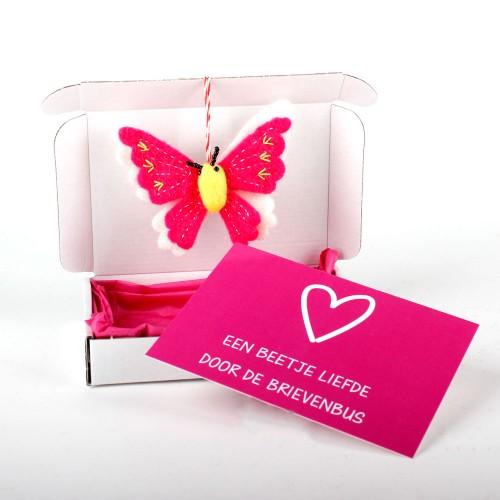Brievenbuspost Vlinder Fuchsia