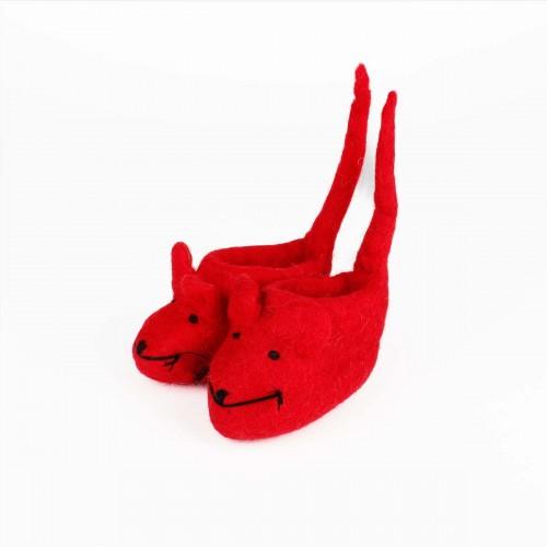 Slofjes Muis met Staart Rood
