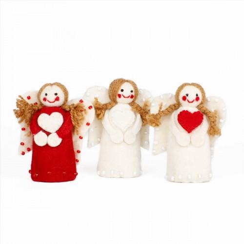 Kerstengeltjes Rood-Wit 3 st.