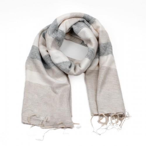 Sjaal Crème Grijs