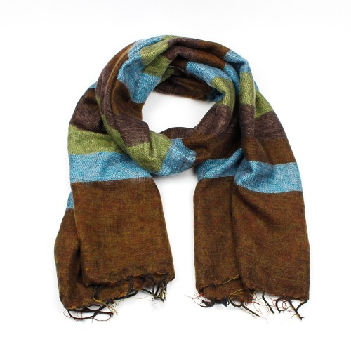 Sjaal Blauw Bruin Groen